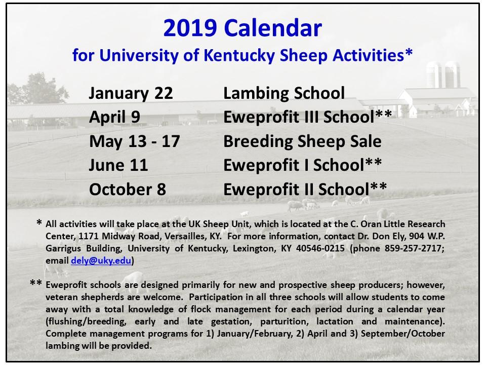 2019 Sheep Activities Calendar