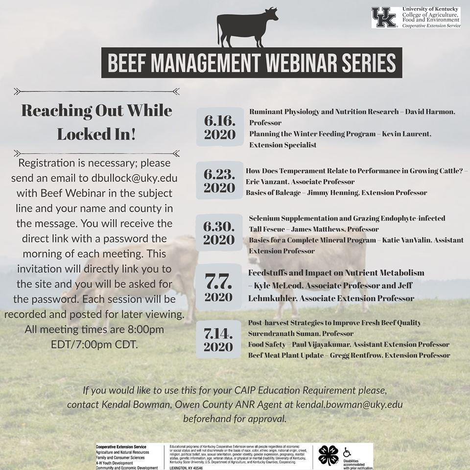 Beef Management Webinar Series