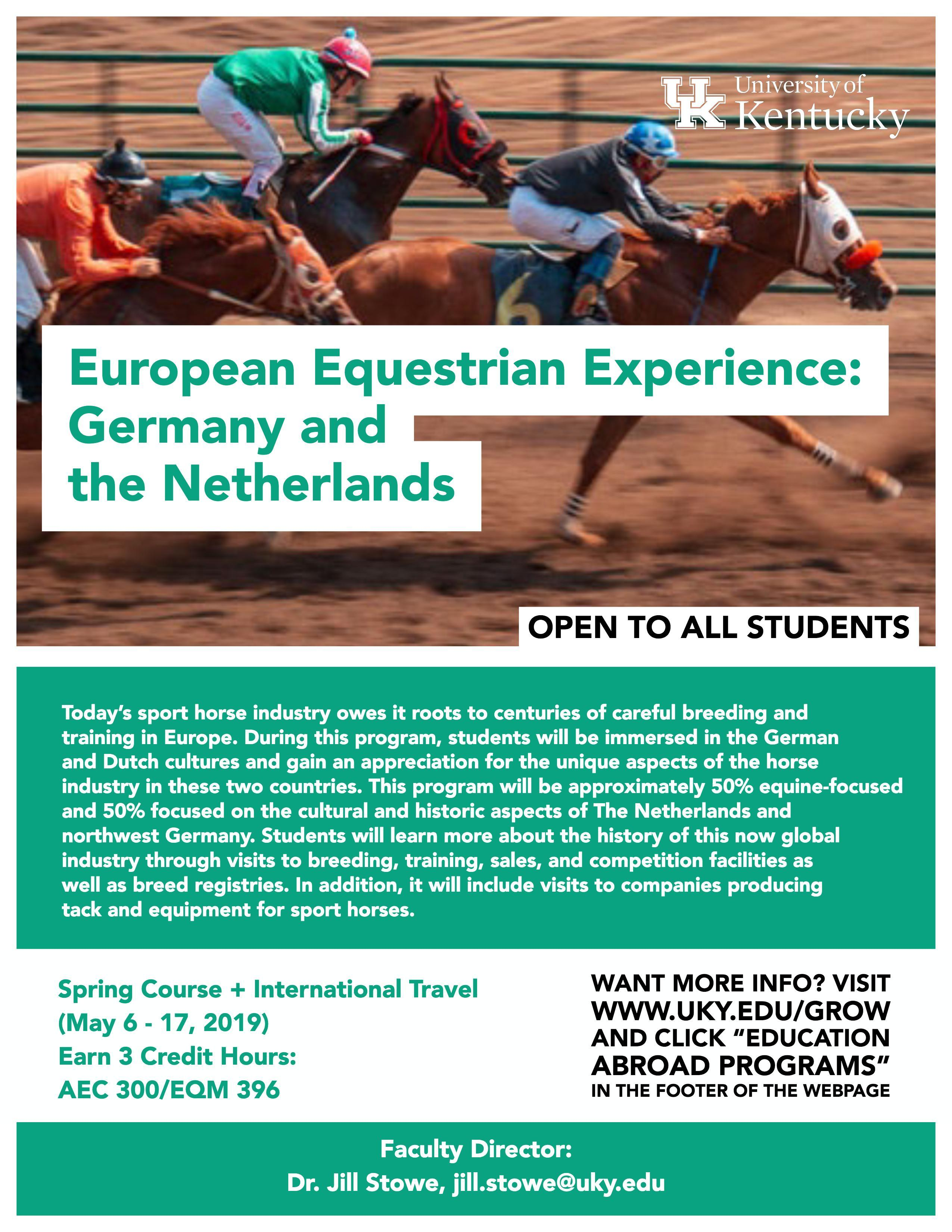 European Equestrian Experience:  Germany and the Netherlands