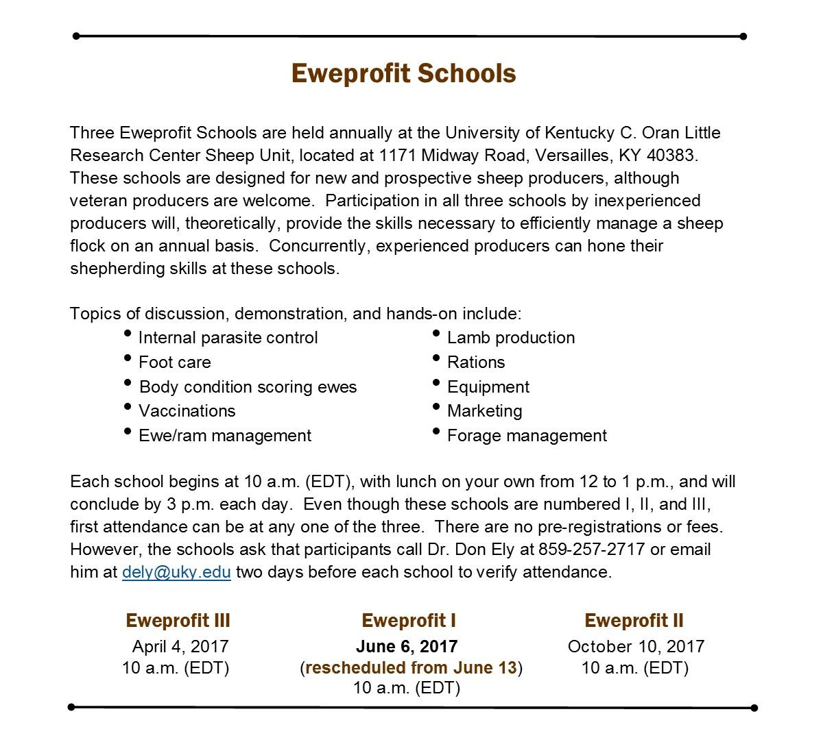 Eweprofit School information