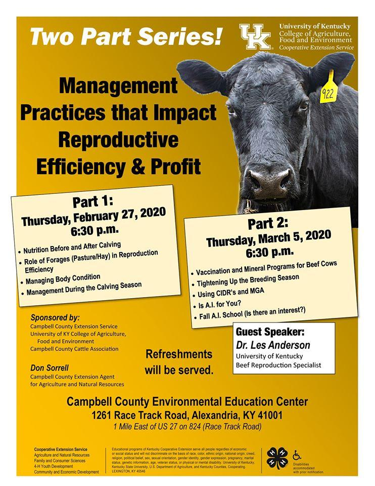 Management Practices that Impact Reproductive Efficiency Profit