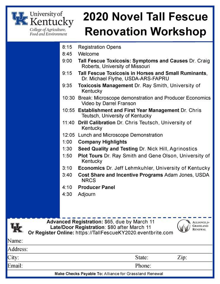 March 19 - Novel Tall Fescue Renovation Workshop