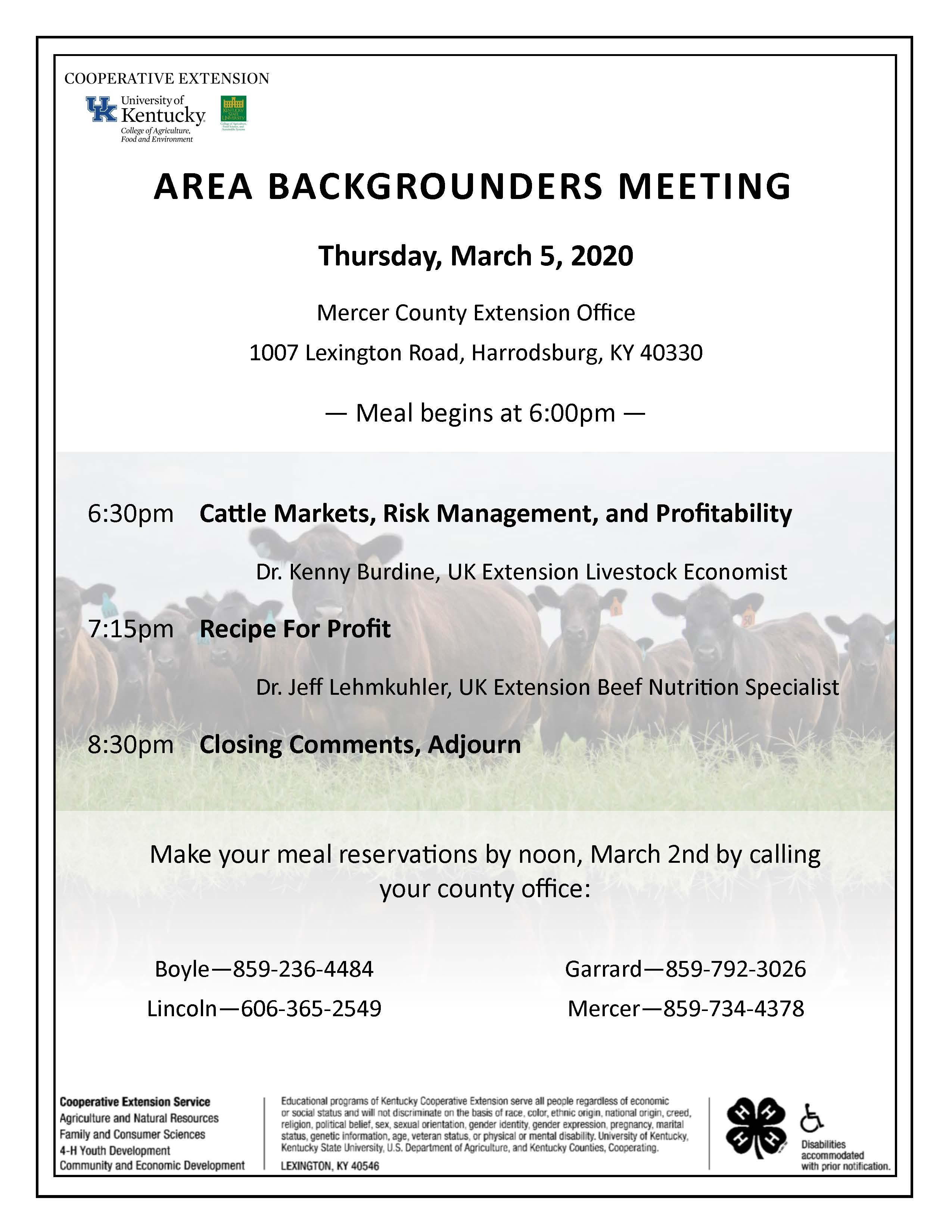 March 5 - Area Backgrounders Meeting