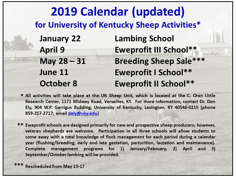Sheep Activities Calendar 2019