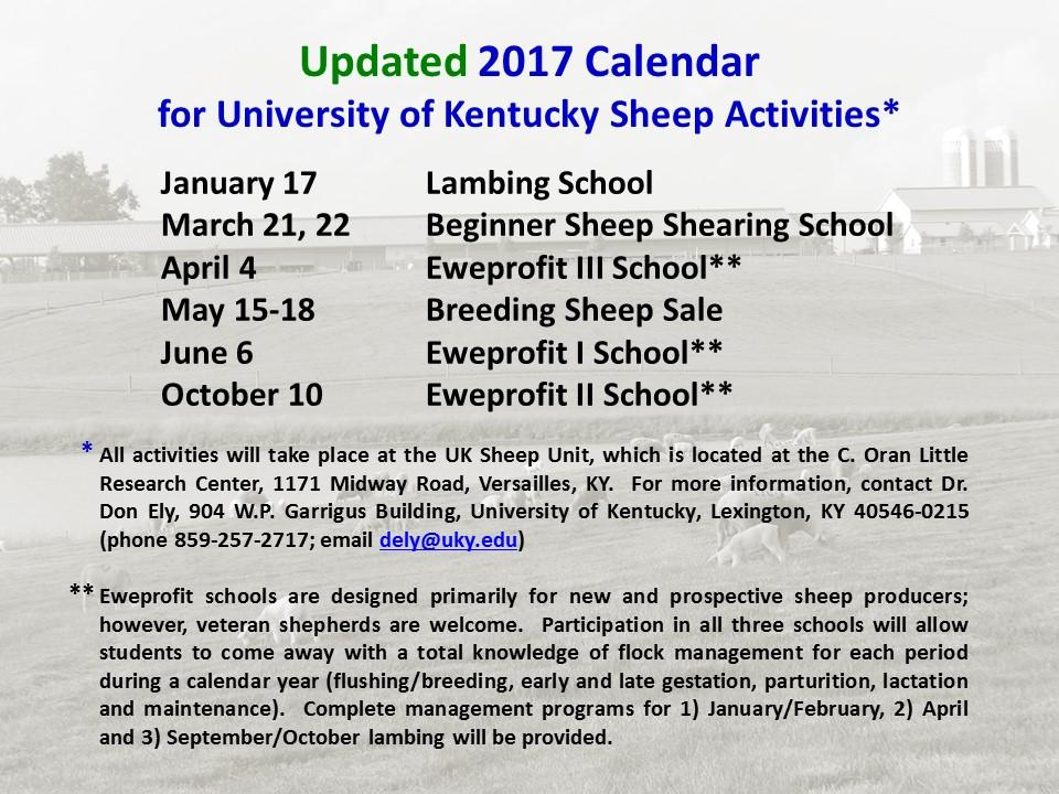 2017 Sheep Activities Calendar