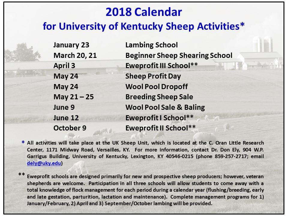 UK Sheep Activities Calendar 2018