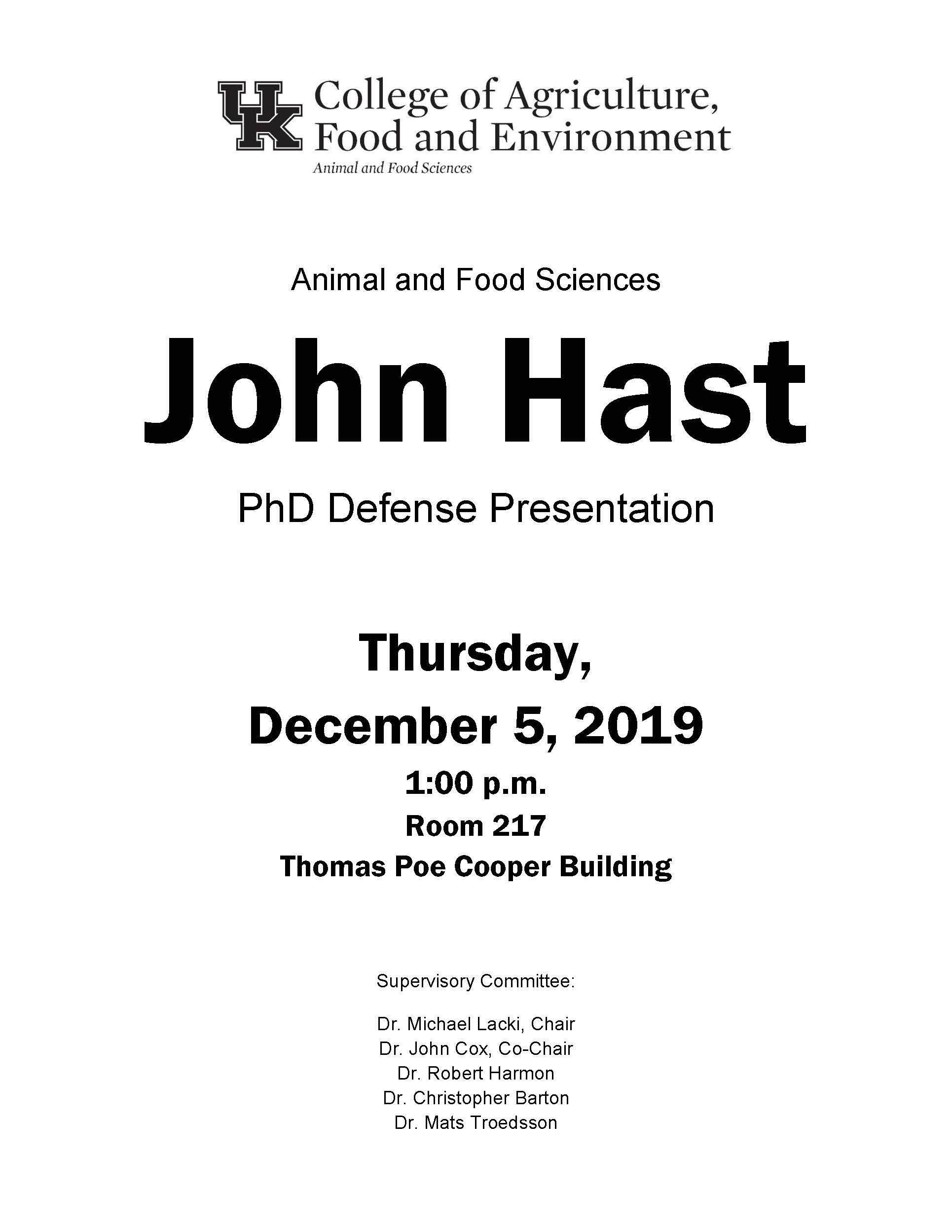 Dec. 5 - John Hast PhD Presentation