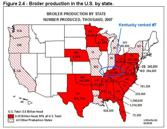 Figure 2.4 - Broiler production in the U.S. by statev