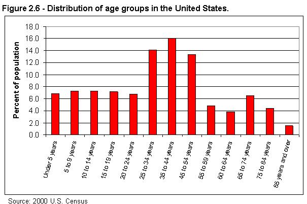 Figure 2.6 - Distribution of age groups in the United States