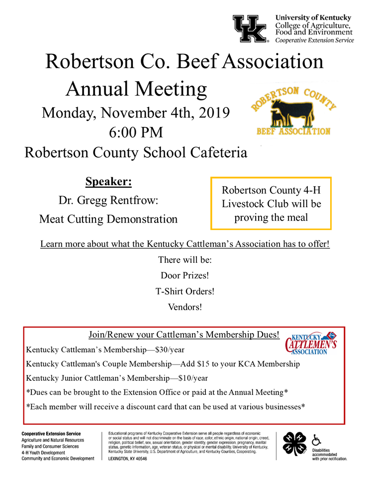 Robertson Co. Beef Association Meeting